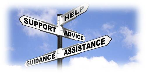 Roadsigns that say help, support, advice, guidance and assistance